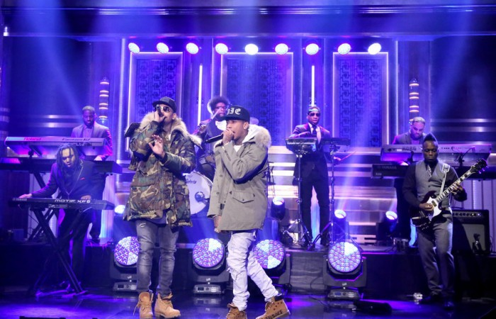 Chris brown and Tyga on the Tonight Show